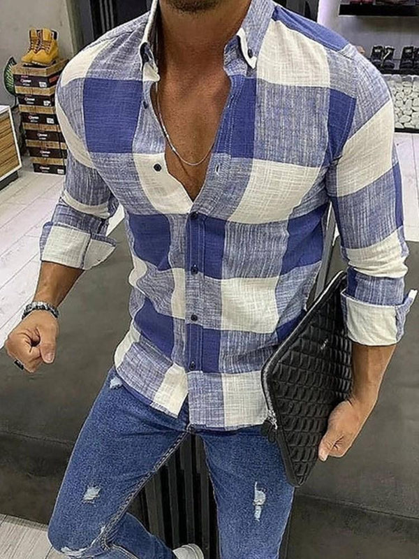 Plaid Lapel Casual Single-Breasted Slim Shirt