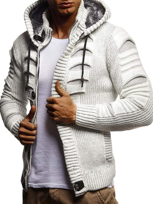 Plain Standard Hooded Casual Zipper Sweater
