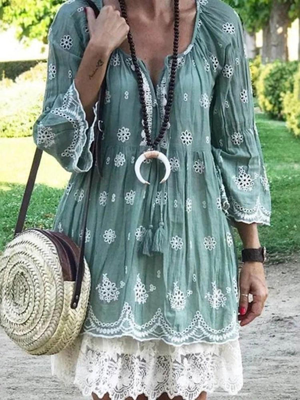 Three-Quarter Sleeve Lace-Up Above Knee Pullover Summer Dress