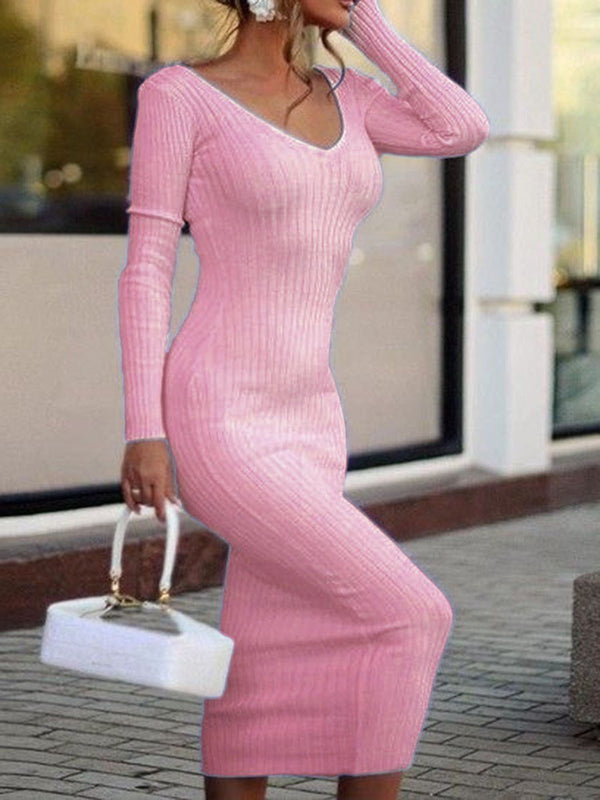 Mid-Calf V-Neck Long Sleeve Bodycon Plain Dress