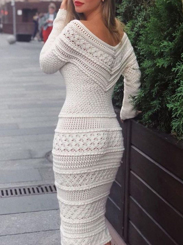 V-Neck Mid-Calf Long Sleeve Plain Pencil Dress