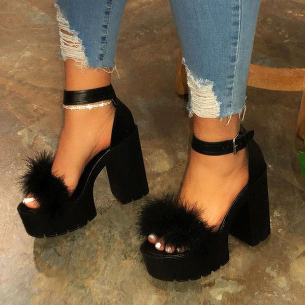 Open Toe Line-Style Buckle Ankle Strap Chunky Heel Casual Feather Sandals