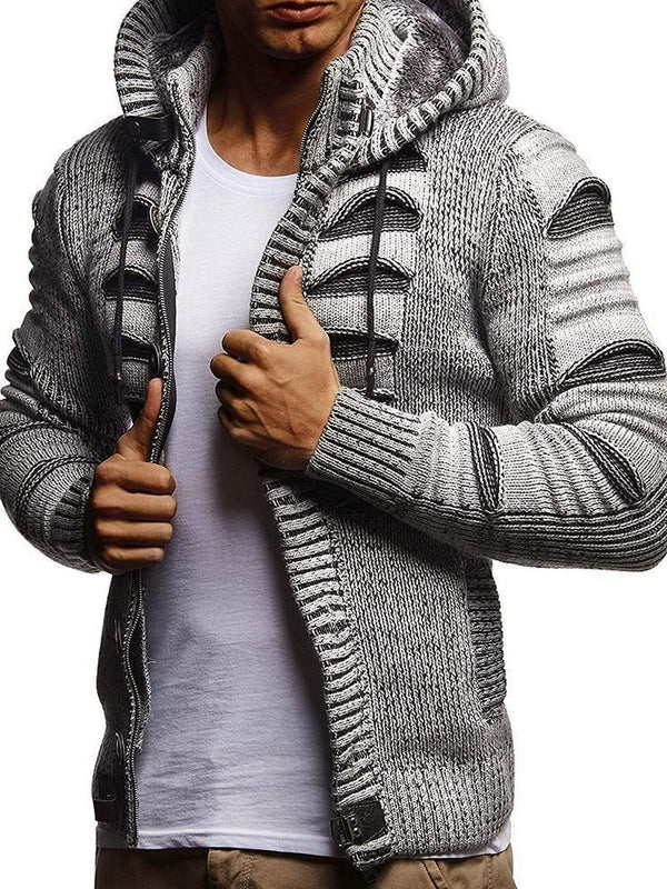 Standard Hooded Color Block Zipper Slim Sweater