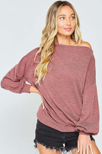 Burgundy off one shoulder top