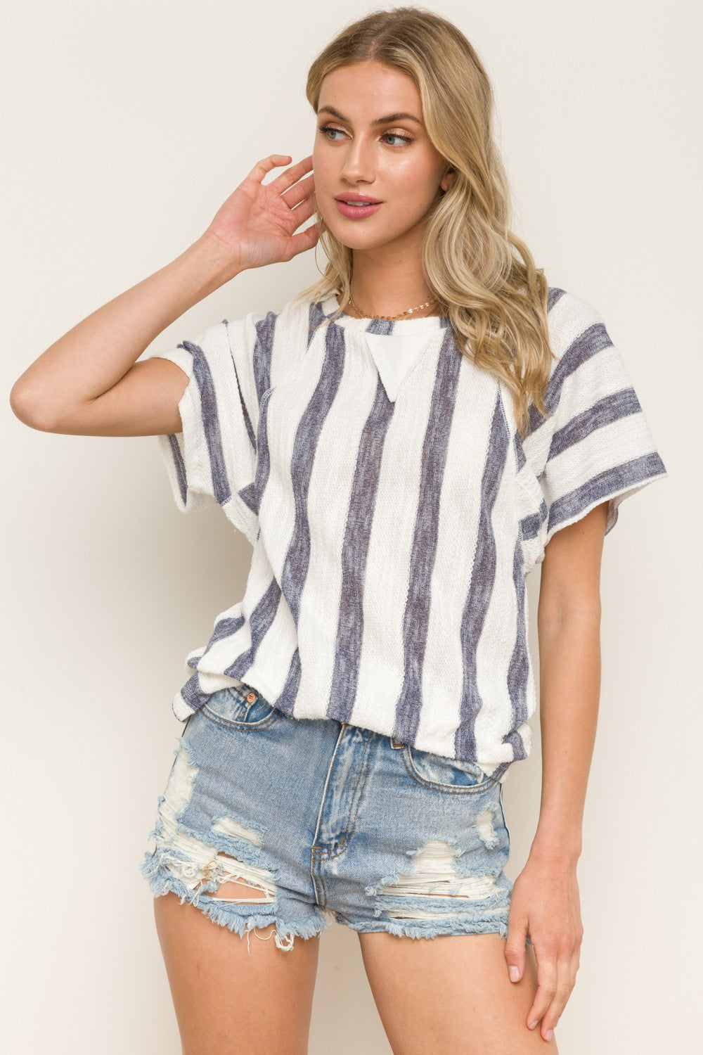B319 BLUE STRIPE RAGLAN