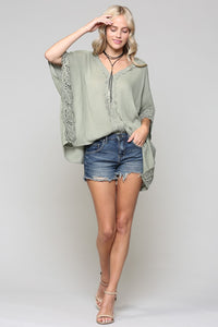 Olive pullover lace top
