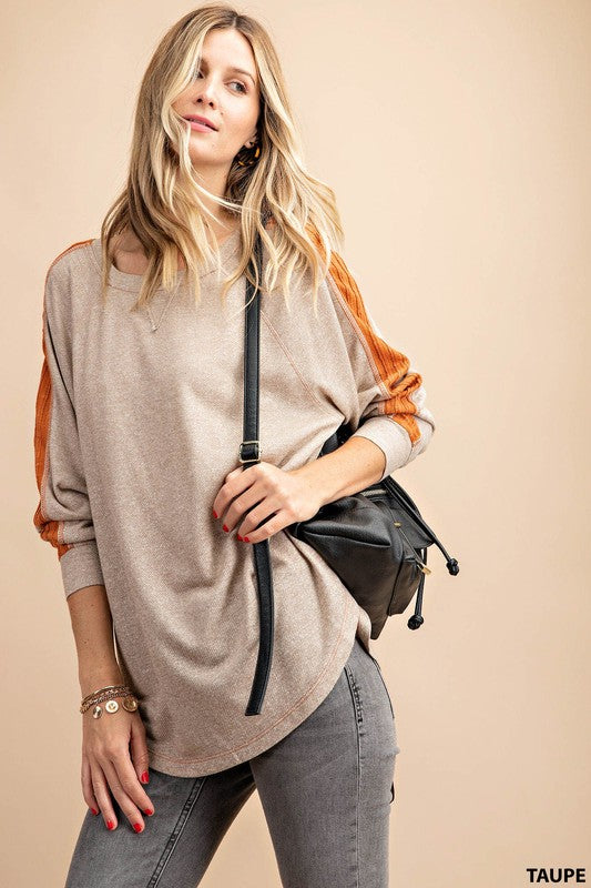 TAUPE FRENCH TERRY TOP