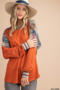 Rust top w/ combo sleeve