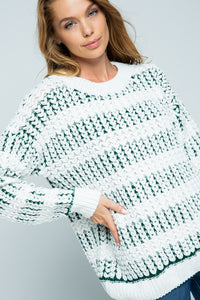 White sweater with green underlay