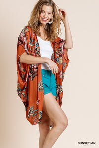 RUST Floral Print Open Front Sheer Kimono