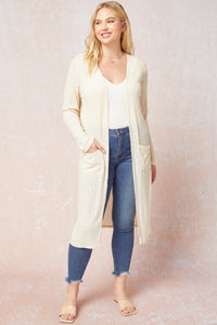 Solid Ribbed Duster Cardigan