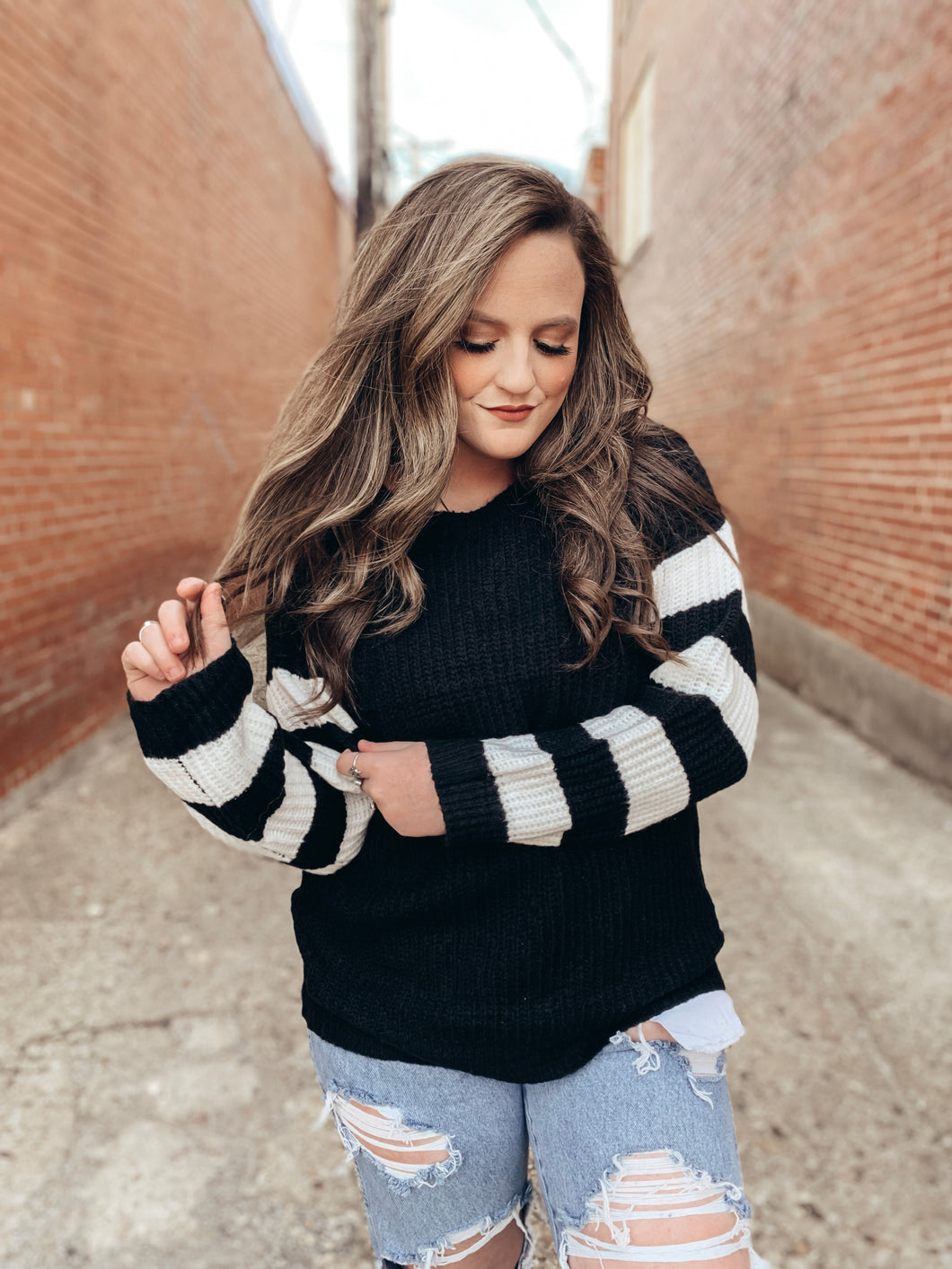 Stripe Sleeve Sweater