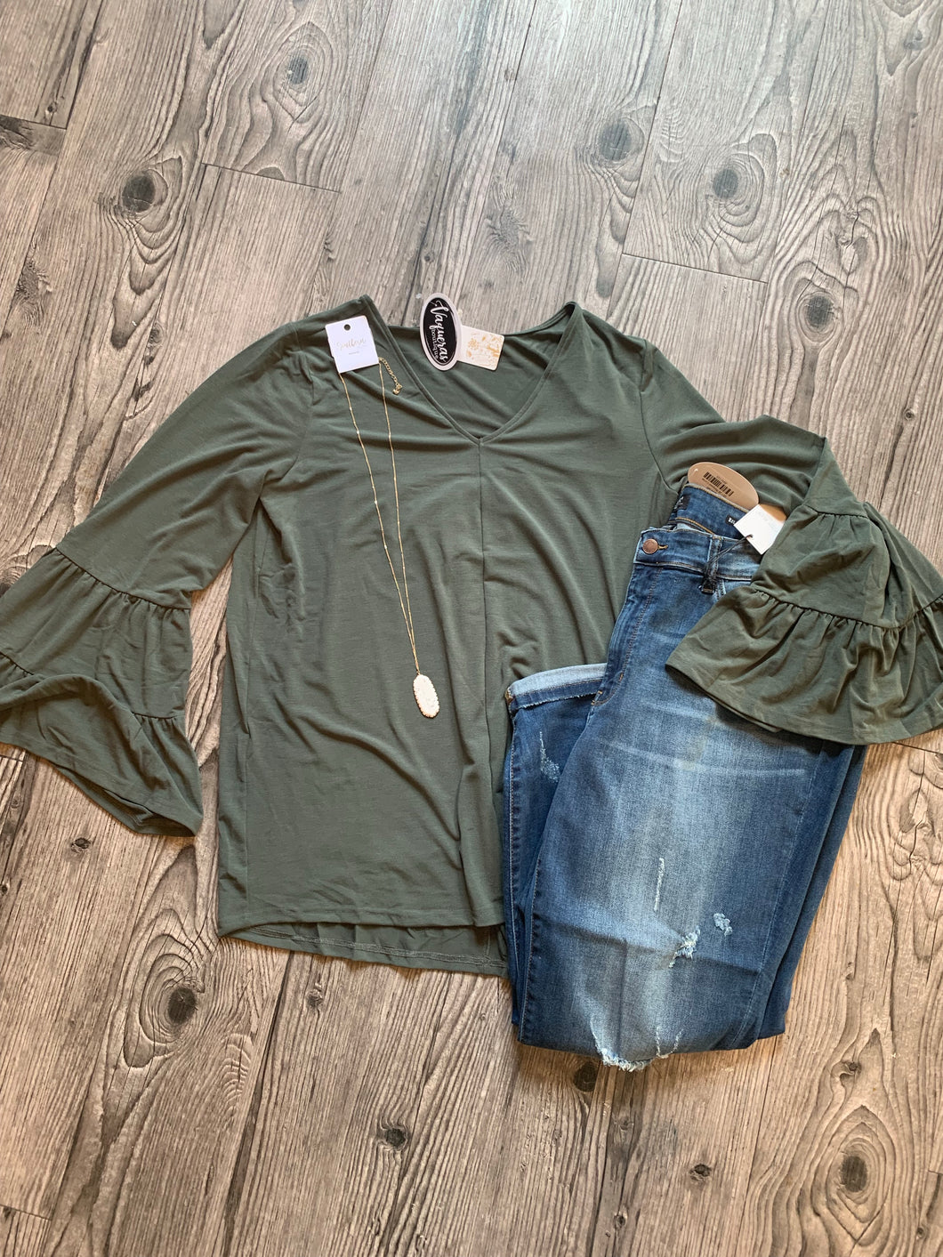 Olive Flair Top