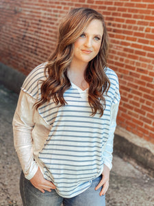 SLATE BLUE STRIPED RIB TOP