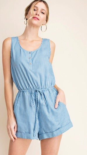 STRIPE DENIM ROMPER
