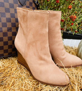 The Camel Wedge Bootie