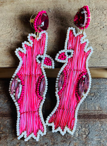 Pink Parrot Earrings