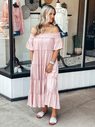 Blush Off Shoulder Dress
