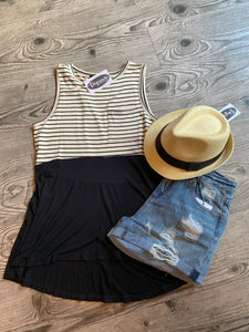 Oatmeal & Black  Stripe Tank