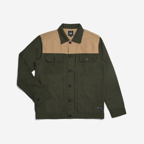 Rex Jacket Two Tone Reseda Green Cream Canvas Solid