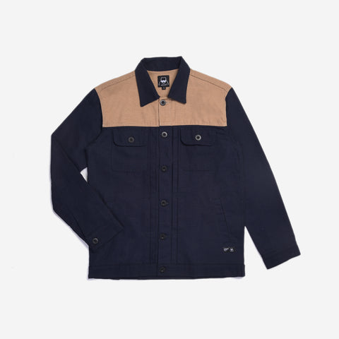 Rex Jacket Two Tone Navy Cream Canvas Solid