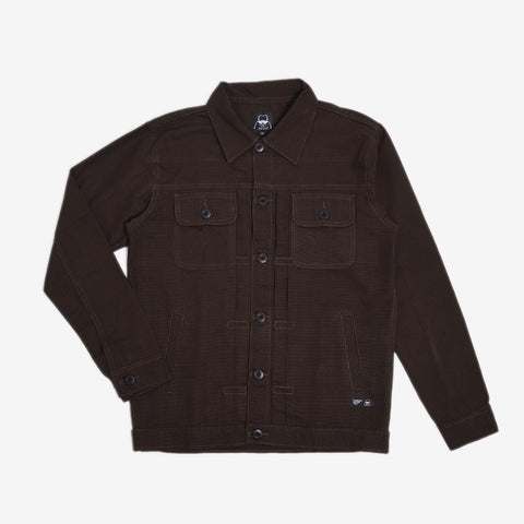 Rex Jacket Dark Brown Canvas Solid