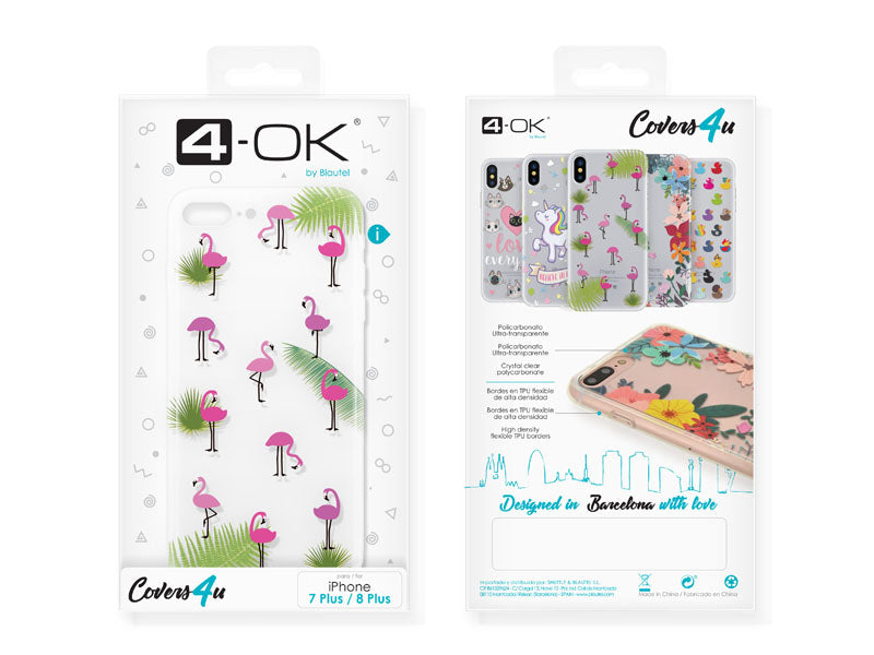 Capa 4u Flamingos 4-OK para iPhone 7 Plus/8 Plus