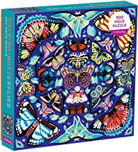 "Mudpuppy Kaleido-Butterflies Jigsaw Puzzle, 500 Pieces, 20"" x 20"" – Ages 8+ – Colorfully Arranged in a Kaleidoscope View"
