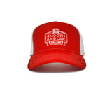 Red & White Crest Trucker