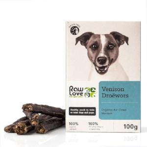 Raw Love Organic Free Range Venison Droewors Treats for Pets. Natural Wholesalers, wholesale distributors South Africa