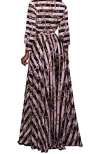 Load image into Gallery viewer, Chain Stripe Print V Neckline Strappy Long Dress
