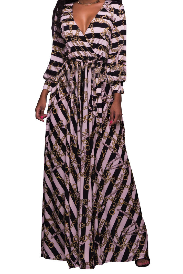 Chain Stripe Print V Neckline Strappy Long Dress