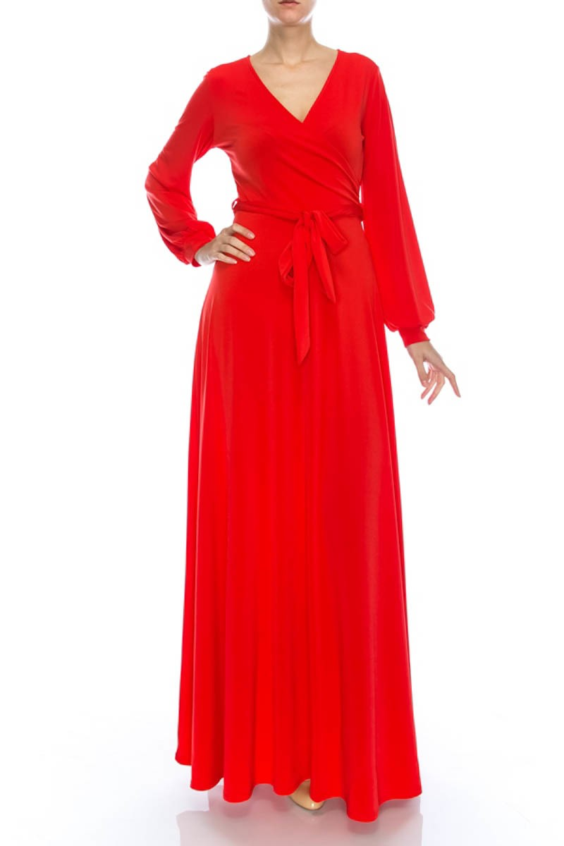 Maxi wrap dress with long closed sleeves