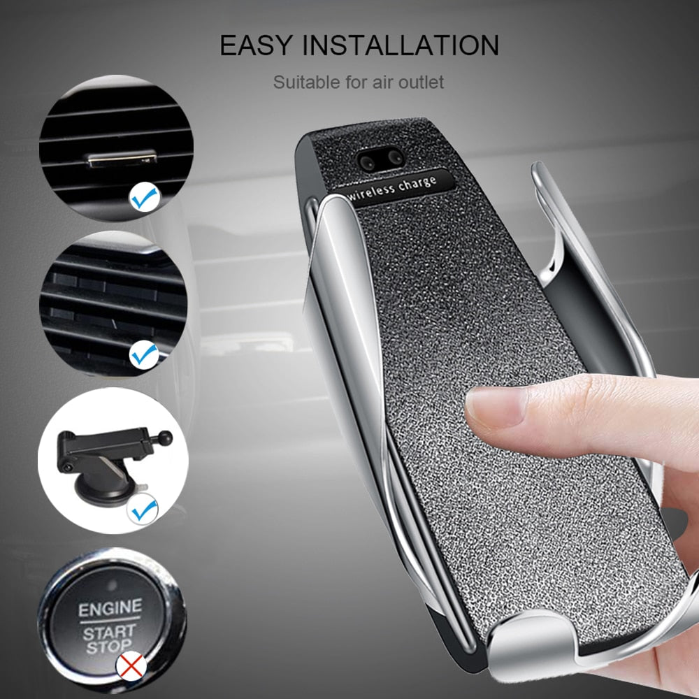 Multifunction Phone Holder + Wireless Charger (Automatic Clamping, Fast Charging) for Cars