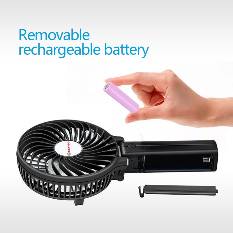 Electric Hand Fan (Rechargeable + Battery)