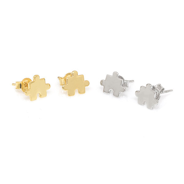 Puzzle Stud Earrings - Gold - Anuja Tolia
