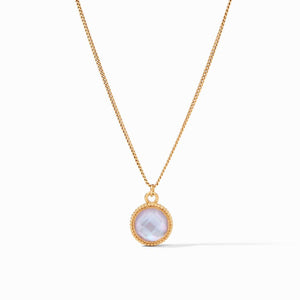 Fleur-de-Lis Solitaire Necklace Gold - Iridescent Lavender - Reversible