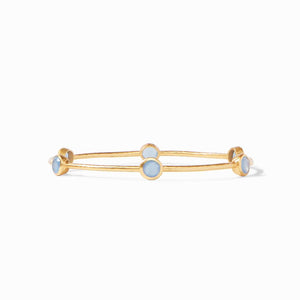 Milano Bangle Gold Opaque Chalcedony Blue - Medium