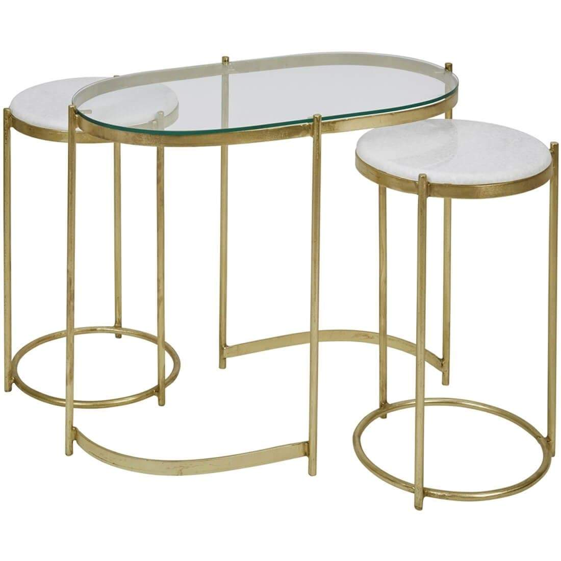 S/3 Iron Console/Side Table - Gold