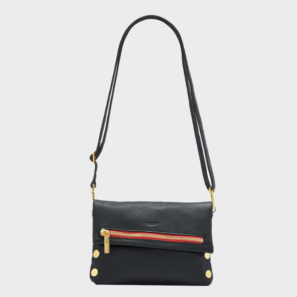 VIP Small - Black Brushed Gold with Red Zipper