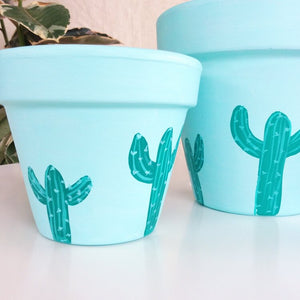 'Turquoise Cactus' Hand- Painted Planters