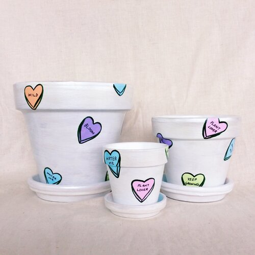 'Candy Hearts Pearl White' Hand-Painted Planters by Elle's Balcony Garden