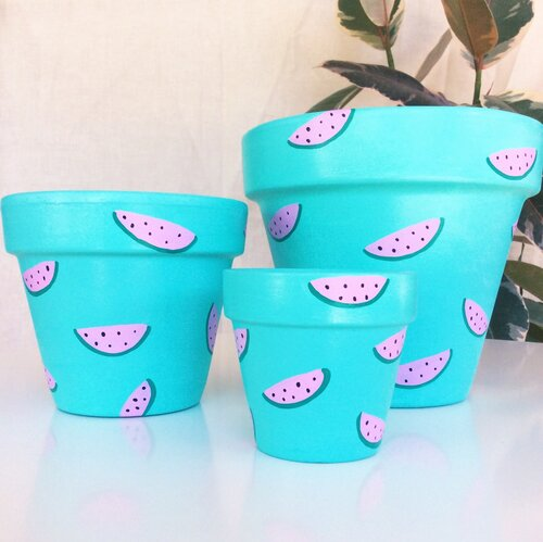 'Turquiose Watermelon'  Hand- Painted Planters