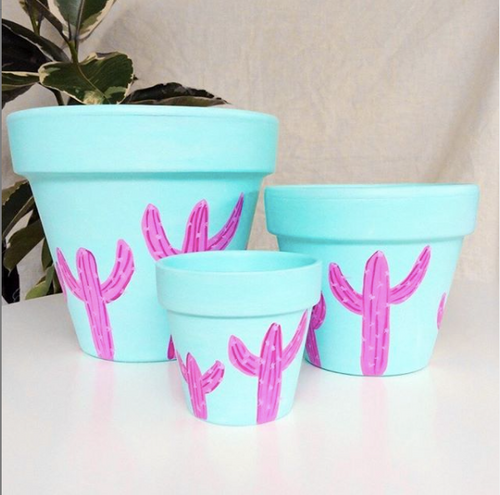 Pink Cactus Hand- Painted Planters