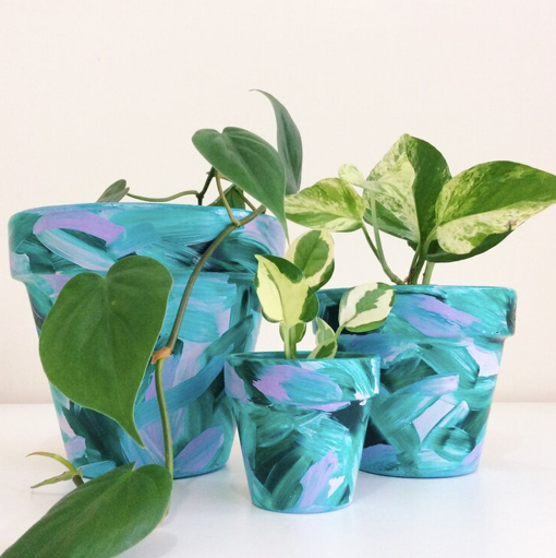 'Tropical Sunday's'  Hand-Painted Planters