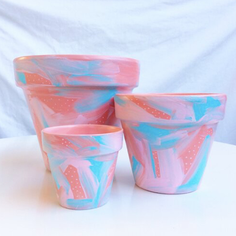 'You Make Me Blush' Hand-Painted Planters