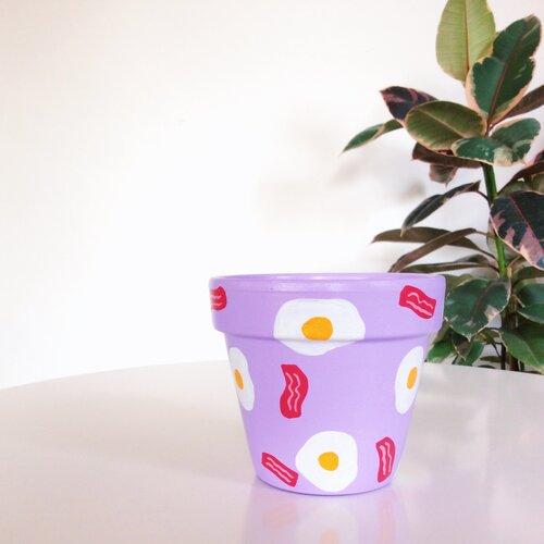 Purple Bacon and Eggs-  Hand-Painted Planters