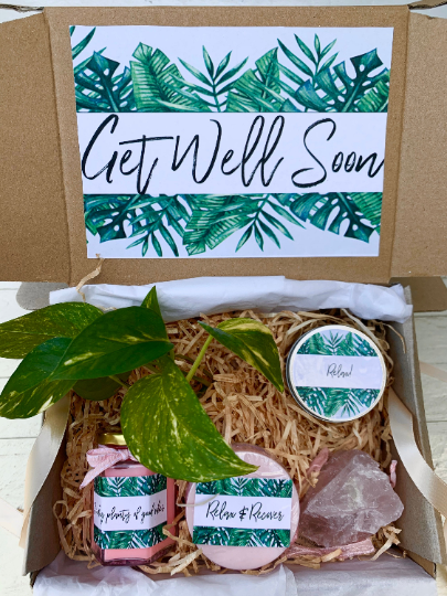 Get Well Soon Care Package, Surgery Gift box, Personalised Plant Gift
