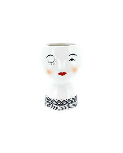 Winking Lady Face Pot