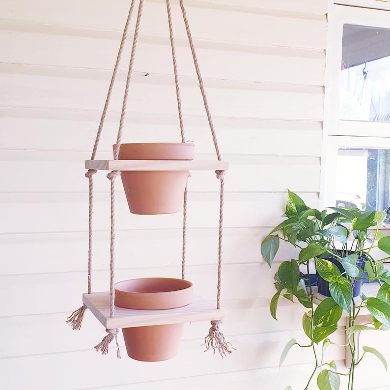 Two Tiered Handmade Recycled Wood Planter. Hanging Planter . Vertical Garden . Plant Shelf . Wood Plant Hanging Shelf . Timber Plant Hanger . Rope Plant Hanger . Macrame Plant Shelf